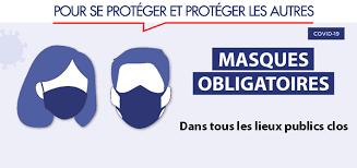 Lieux publics clos -Masques obligatoires